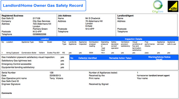 Home Owner Landlord Gas Safety Record